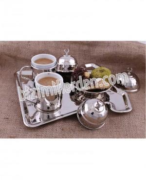 Bakır Nikelanj 2'li Kaftan Kahve Set