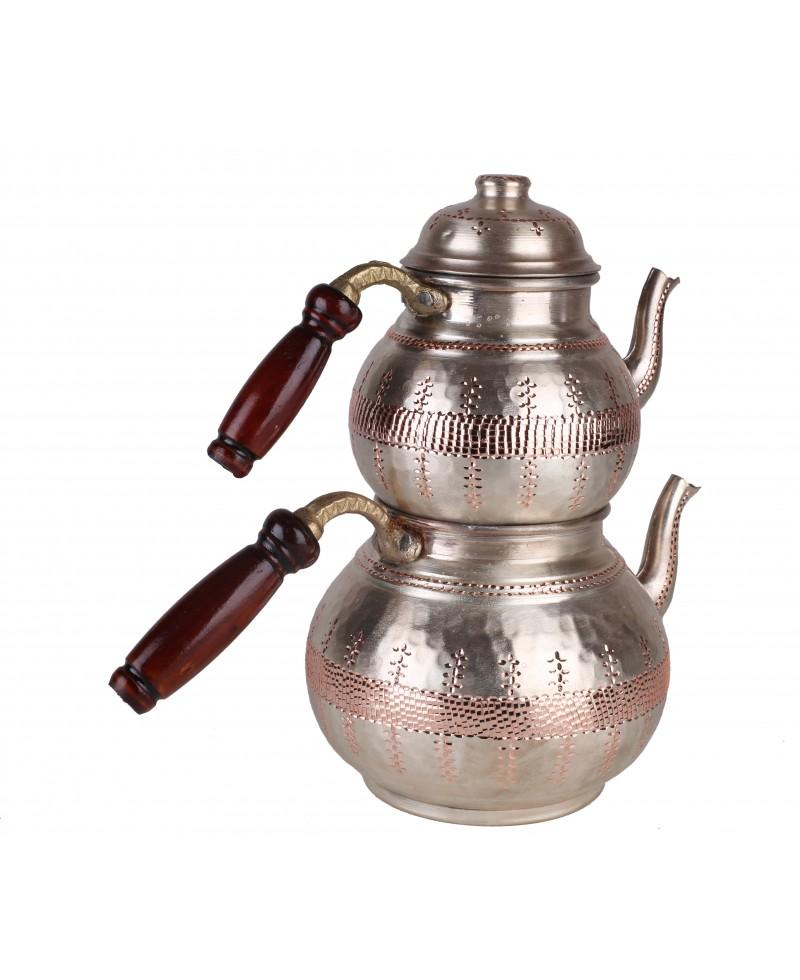 Bakır İşlemeli Eskitme Çaydanlık (Büyük Boy) Gümüş Renk