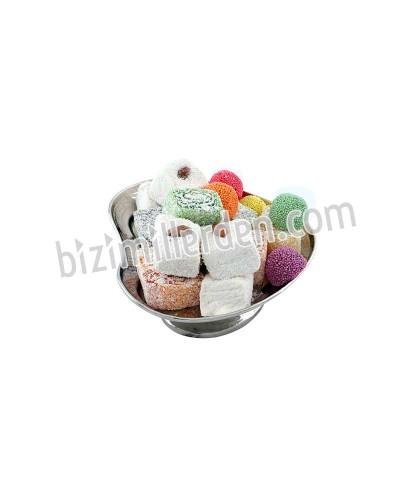 Bakır Nikel Kaplama Ayaklı Kalpli Şeker-Çerezlik