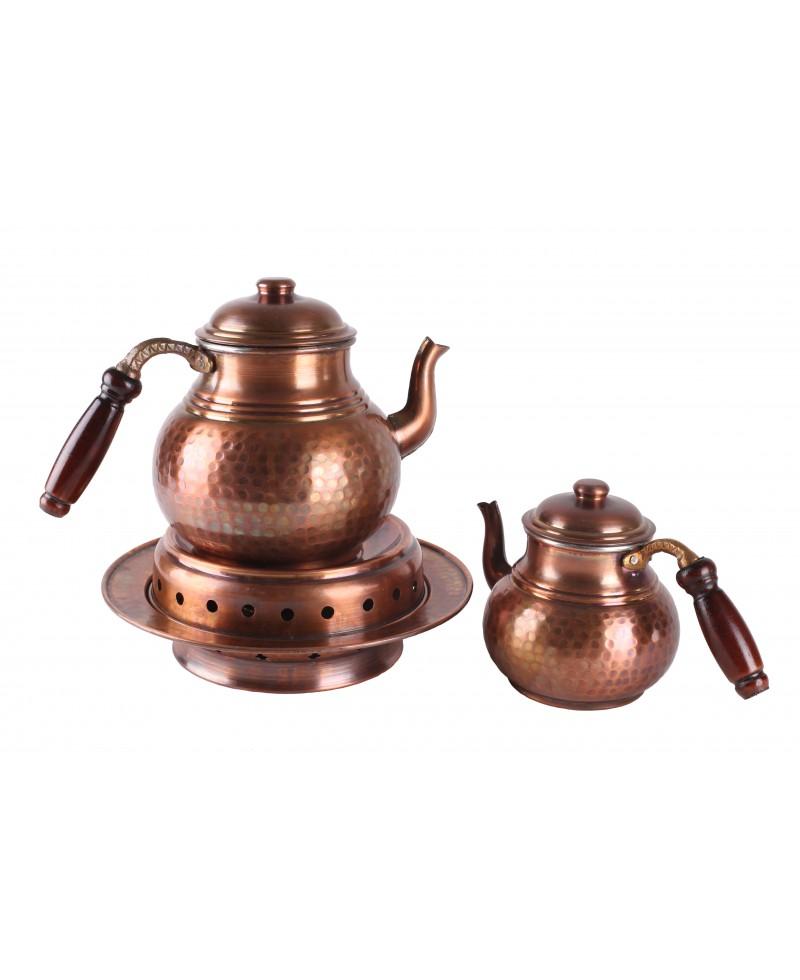 Bakır İşlemeli Eskitme Çaydanlık (BÜYÜK BOY - ALT ISITMALI )