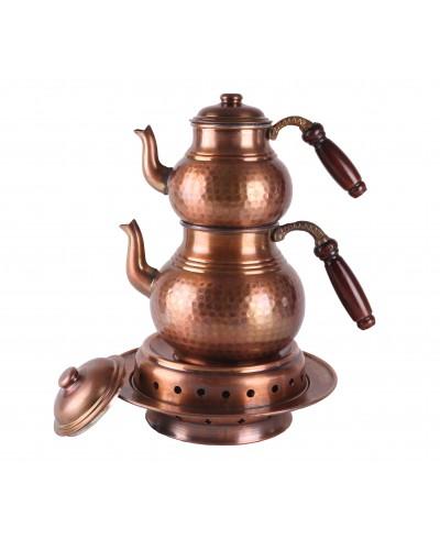 Bakır İşlemeli Eskitme Çaydanlık (Isıtmalı)
