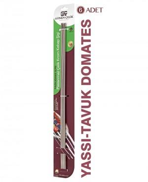 Yassı Domates Biber Çelik Şiş 6'lı Paket 6mm